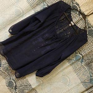 Blue Boho sheer blouse aztec